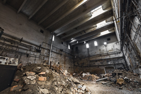 abandoned room: room in an abandoned factory building