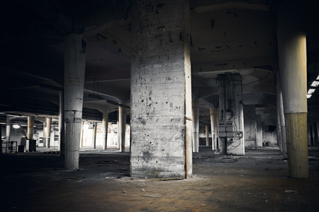 abandoned factory: industrial interior of an abandoned factory building