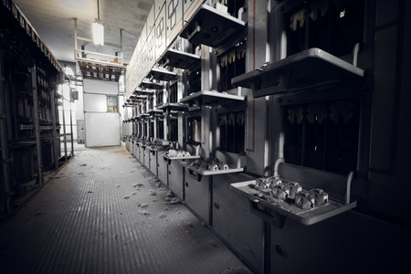 megawatt: Old electrical switchboards in an abandoned factory