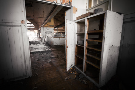 antique factory: Old, dirty office furniture in an abandoned factory