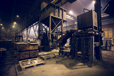 poor light: steel manufacturing plant, interior, poor light