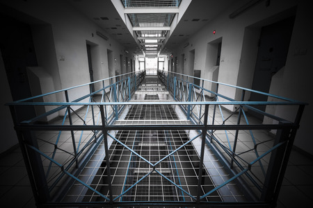 condemnation: Inside prison, poor light Stock Photo