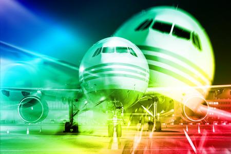 triplet: airplane, Double Exposure