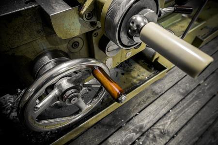 poor light: an industrial machine in the factory, detail, poor light