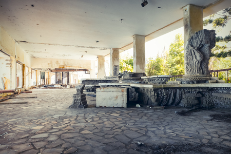 abandoned room: abandoned building, old dinning room Stock Photo