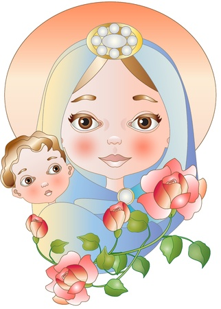 virgin mary with baby jesus Stock Vector - 15661366