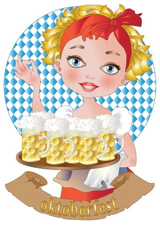 a blonde girl with beer Illustration