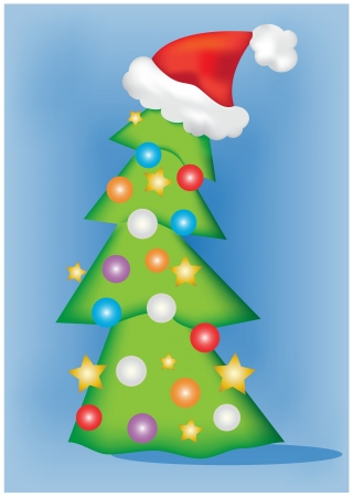 a christamas tree with decorations Vector
