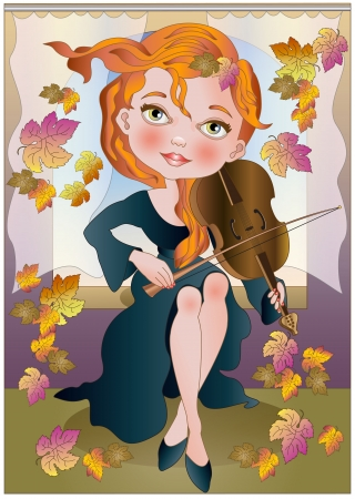 a girl playing in the falling leaves Illustration