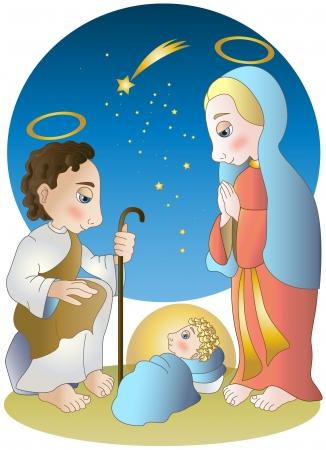 bebe cuna: Virgen Mar�a, Jos� y el Ni�o Jes�s Vectores