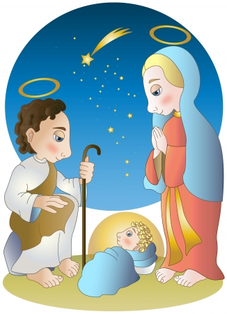 Virgin Mary ,Josef and baby Jesus Vector
