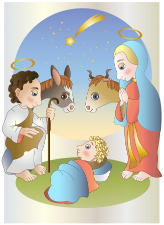 maria: Virgin Mary,Josef and baby Jesus Illustration