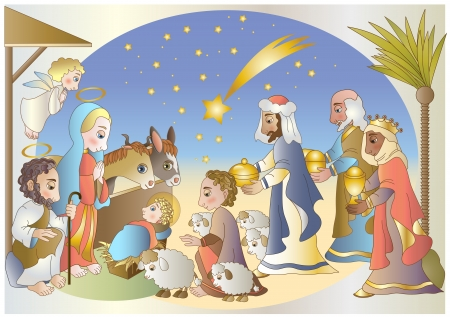 maria: nativity scene complete with shepherd and angel and the Magi