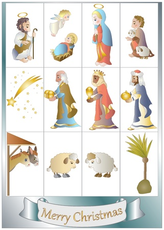 shepherd: set crib elements Illustration