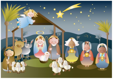 small nativity scene with holy family, a shepherd and magi Stock Vector - 16385741