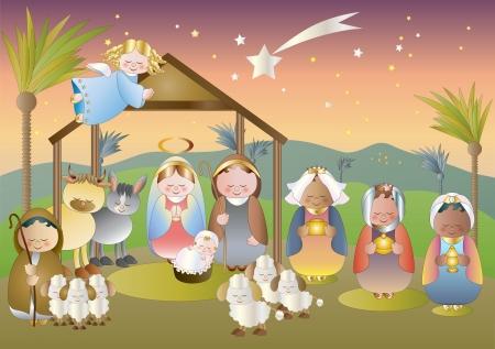 heilige familie: kleine Krippe mit heiliger Familie, Hirten und Magier
