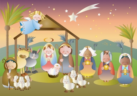 small nativity scene with holy family, a shepherd and magi  Vector