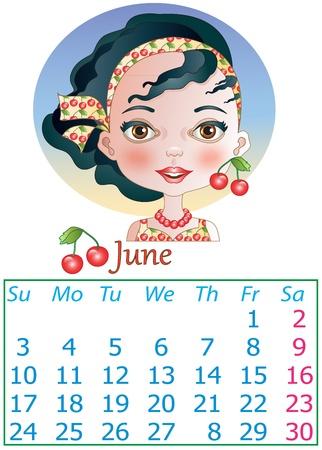 2013 calendar June Illustration