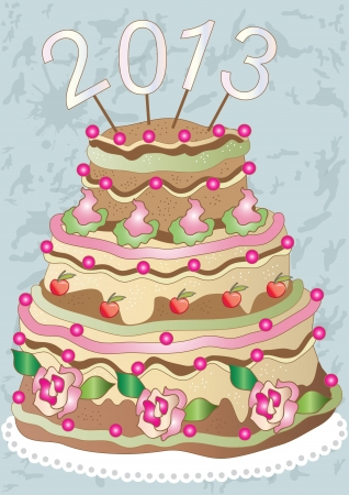 Cake with the date of the new year 2013