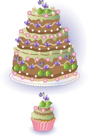 Cake and cupcake with violet, freehand drawing