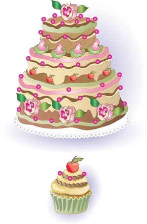 Cake and cupcake with cherry, freehand drawing Illustration