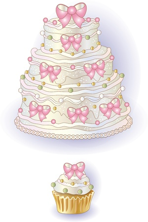 Cake and cupcake with ribbon, freehand drawing