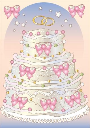 Freehand drawing wedding cake Illustration