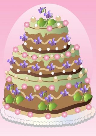 Freehand drawing spring violets cake Illustration