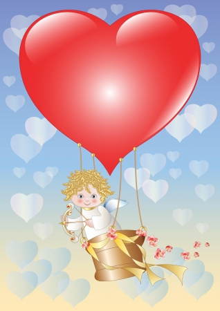 Cupid is flying on a balloon in the shape of a big red heart