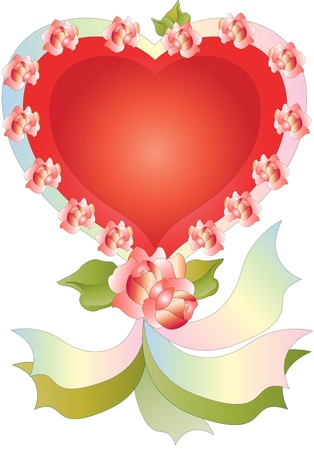 Heart with Roses and Ribbons Illustration