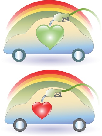 Set of two green cars expressing ecological concept