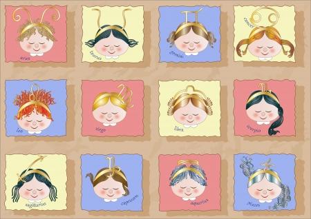 Children Faces like Zodiac Signs