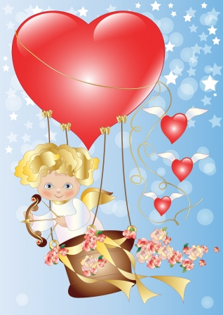 Cupid Flying with Hearts and Roses Illustration