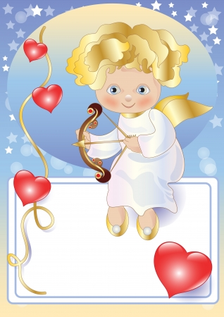 Cupid Sitting on a Card for Greetings Illustration
