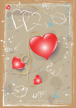 Hearts and Graffiti on a Rustic Surface