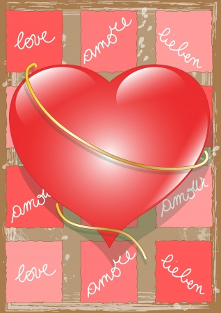 Heart with on Paper Love text