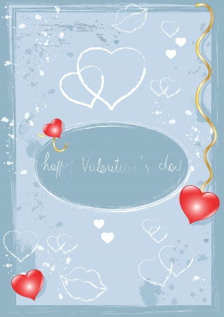 Valentine Background with Blue Graffiti