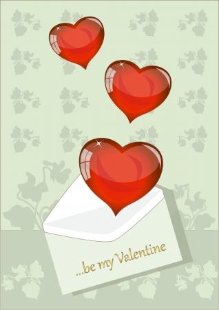 Three Hearts Leaving a Envelope Illustration