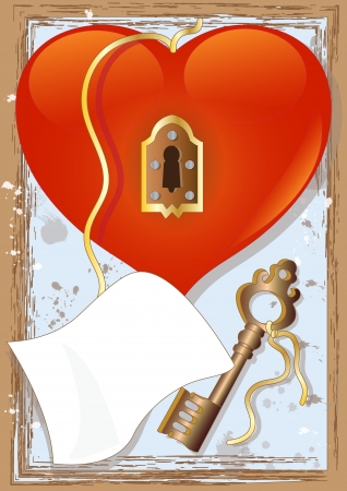Big Heart with Lock and Key  Illustration