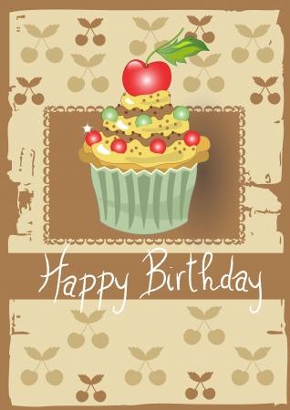 Happy Birthday with Cherry Cake  Illustration