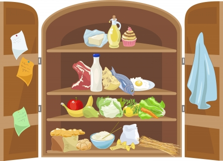 mediterranean food: Mediterranean diet Foods Represented in a Cupboard Illustration