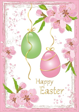 Peach Flowers with Eggs and Easter Greetings Illustration