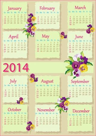 2014 English Calendar  Vector