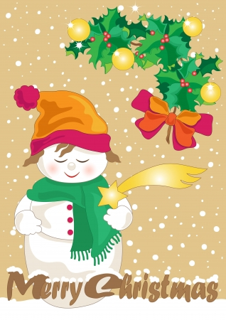 Snowman with Holly, Comet and Greetings Illustration