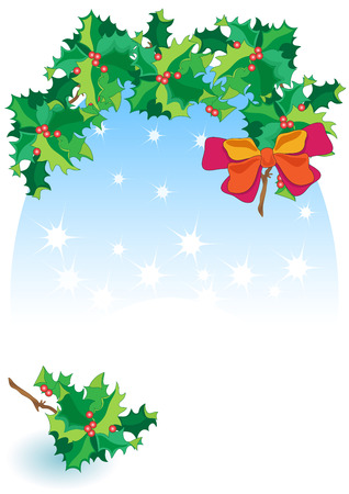 Decoration Holly with Space for Text Illustration