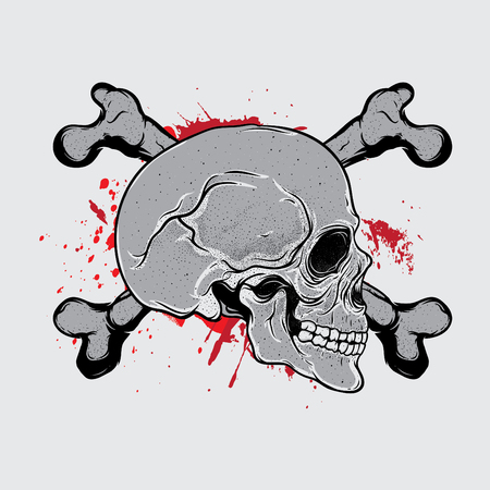 Skull bloods vector illustration.