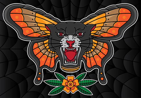 traditional black panther and butterfly tattoo, vector 10