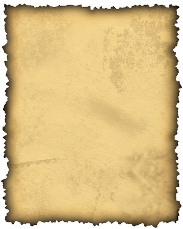 Old blank parchment paper with burnt edges on white. Zoom in to see the high level of surface texture. photo