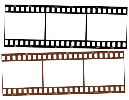 Three blank frames of 35mm film strips isolated on white background photo