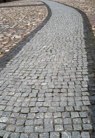 gravel roads: Old cobblestone path at a park